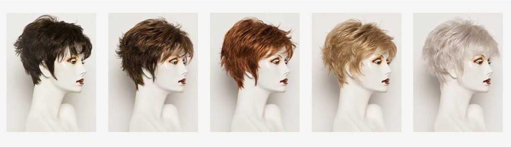 maniquies con pelucas oncológicas de diferente color